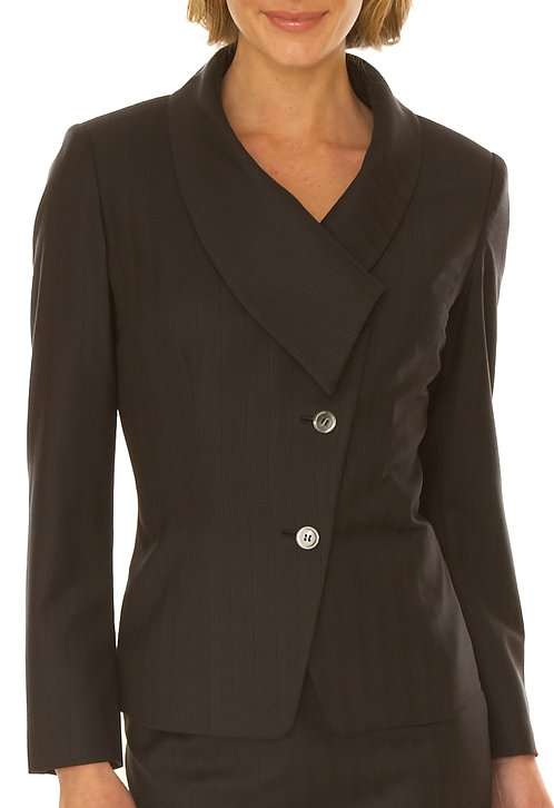 Black Stripe Italian Wool Asymmetrical Collar Jacket