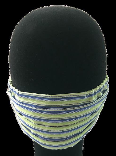 Bright Green/Blue Stripe 100% Cotton Mask w/Filter Pocket