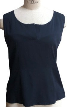 Navy Solid Scoop Slit Neck Silk Blouse