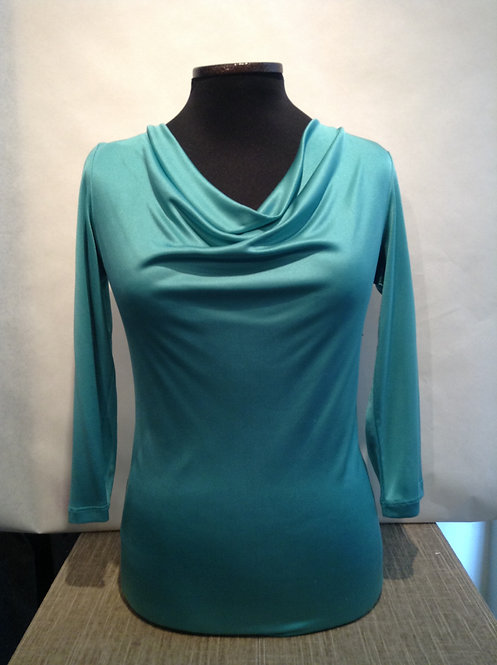 Luxury Silk Jersey Cowl Neck Blouse w/ 3/4 Sleeves