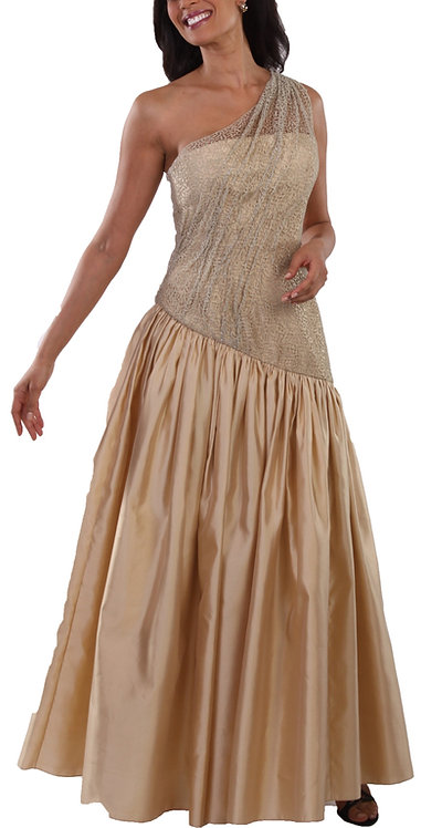 Champagne Italian Lace and Silk One Shoulder Evening Gown