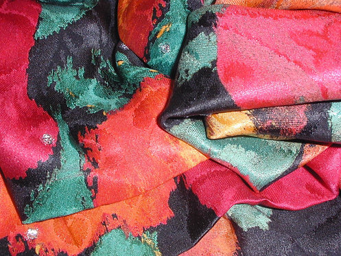 Red/Green/Black Multi Colored Abstract Print Silk Charmeuse