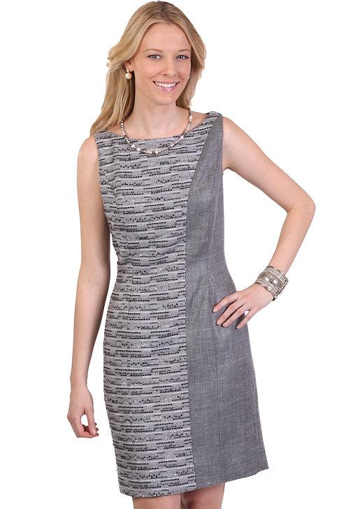 Boatneck Asymmetrical Panel Sheath Dress