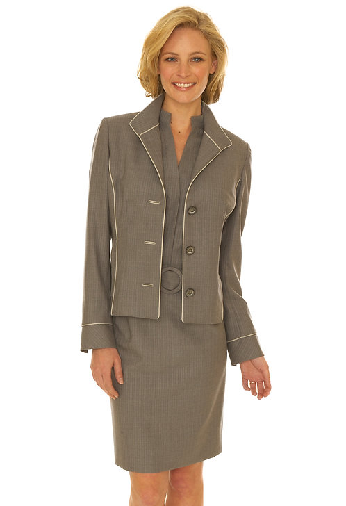 Grey Super 150's Wool Open Collar 3 Button Jacket