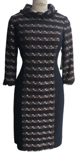 Navy Pink and Brown Boucle Cowl Neck Sheath Dress