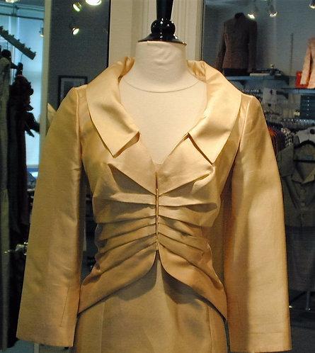 V-Neck Cutaway Jacket w/ Pleat Detail