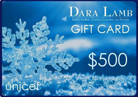 $500 DARA LAMB unicef Gift Card