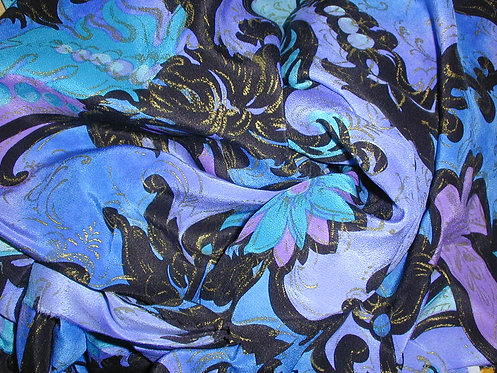 Blue/Purple/Black/Gold Floral Print Silk Charmeuse