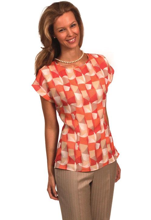 Geometric Art Deco Silk Blouse