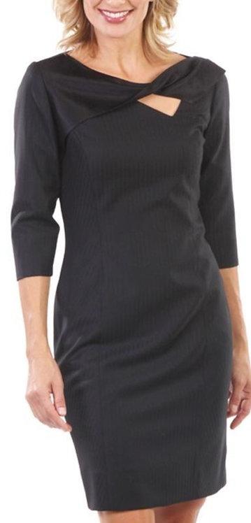 Black Satin Stripe Italian Wool Twisted Sheath Cocktail Dress