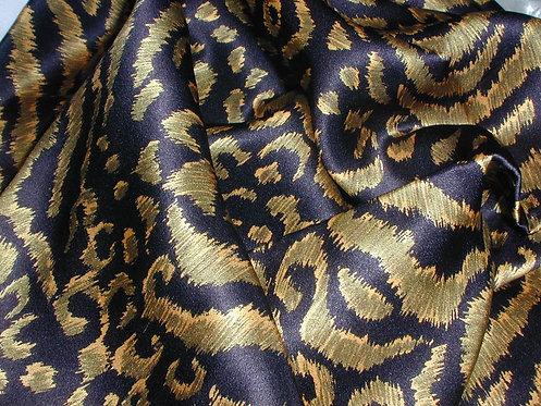 Black/Green/Tan Animal Print Silk Charmeuse