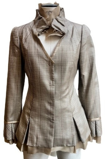 Beige Grid Italian Silk Ruffle Detail Flared Jacket