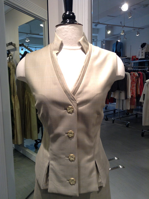 V-Neck Stand Collar Vest w/ Pleats