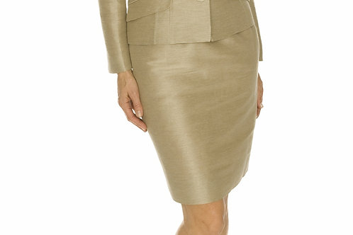 Beige Silk Shantung Straight Skirt