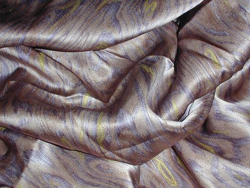 Tan/Gray/Yellow Abstract Print Silk Charmeuse