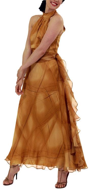 Gold Abstract Print Silk Halter Dress w/ Sash