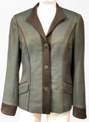 Teal and Brown English Wool Stand Collar Jacketw/ Trim