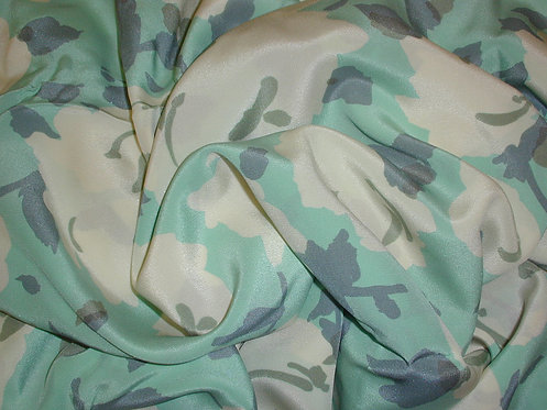 Teal/Green/Ivory Print Silk Charmeuse