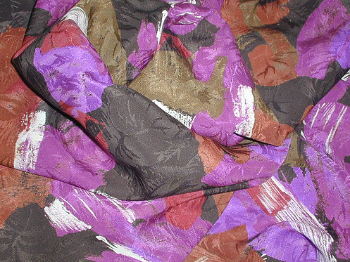 Purple/Brown/Ivory/Red Multi Colored Print Silk Charmeuse