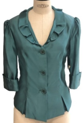 Teal Silk Ruffle Collar Cocktail Flash Jacket