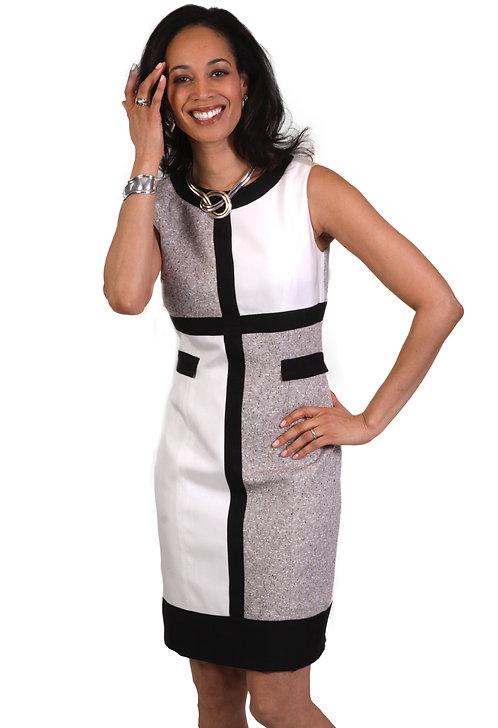 Round Neck Multi Panel Mondrian Dress