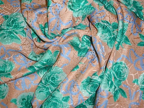 Peach/Green/Blue Floral Jacquard Print Silk Charmeuse