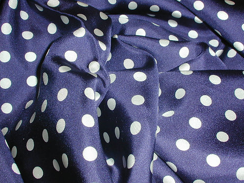 Navy Blue/White Polka Dot Print Silk Charmeuse