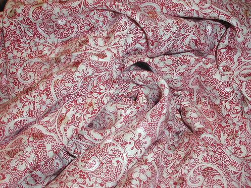 Red/Ivory Floral Jacquard Print Silk Charmeuse