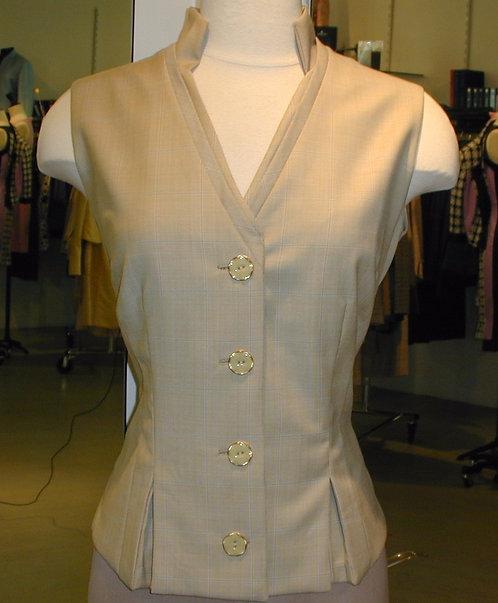 V-Neck Stand Collar Vest w/ Pleat Detail
