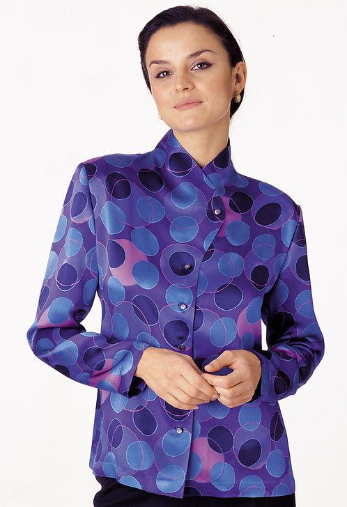 High Neck Button Front Blouse
