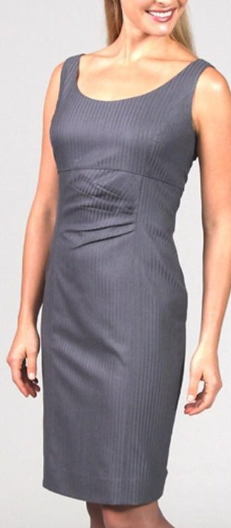 Slate Italian Wool Satin Stripe Gathered Sheath Dress