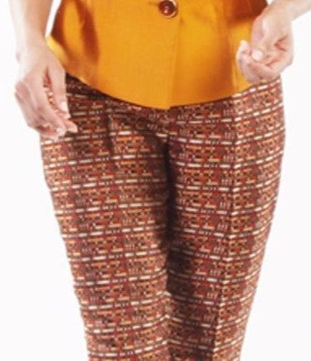 Multi Mosaic Silk Brocade Straight Leg Pant