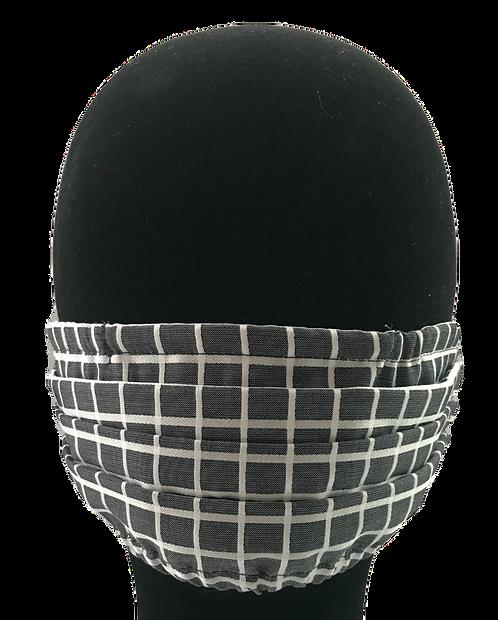 Grey/White check 100% Cotton Mask w/Filter Pocket