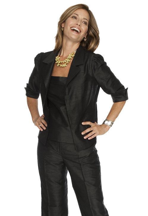 Black Silk Softly Tailored Notched Lapel Jacket