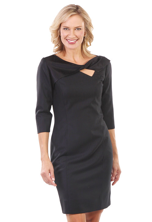 Black Italian Wool/Silk Twist Sheath Dress