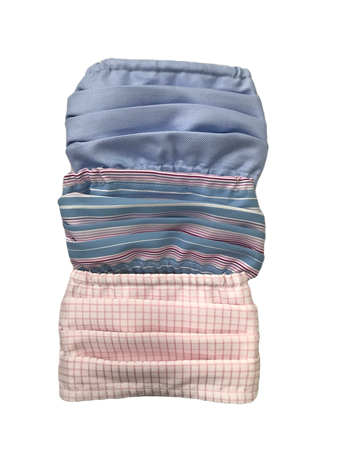 Light Blue-Multi Stripe-Pink Check Multiset - 100% Cotton Mask w/Filter