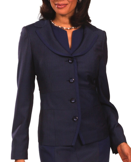 Navy Italian Striped Wool Portrait Collar Jacket
