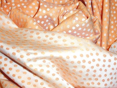 Orange /Ivory Woven Polka Dot Print Silk/Cotton Jacquard