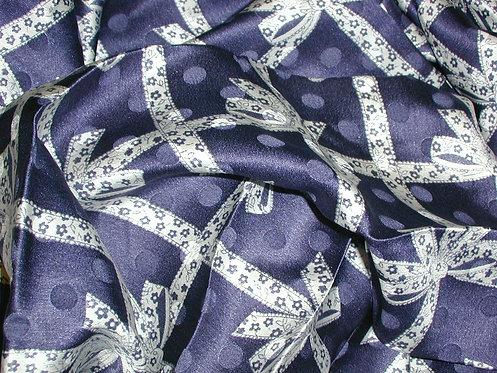 Navy Blue/White Abstract Jacquard Print Silk Charmeuse