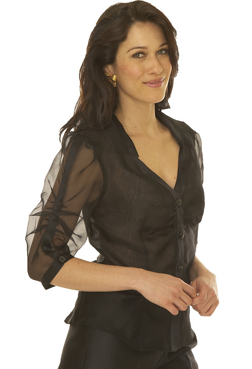 V-Neck Key Collar Blouse w/ Ruched Sleeve Detail
