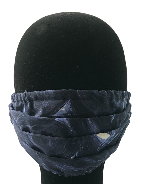 Navy abstract 100% Cotton Mask w/Filter Pocket