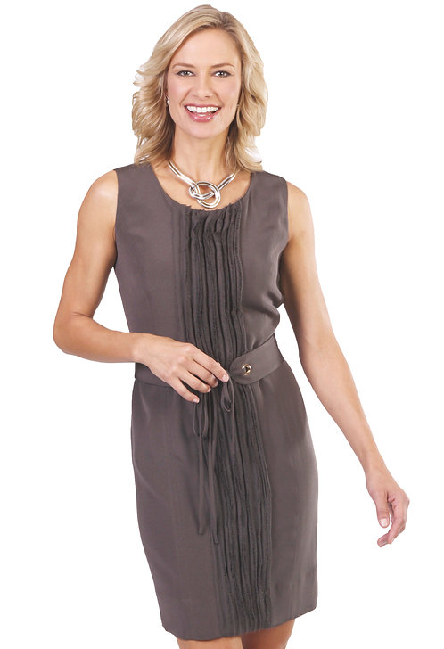 Scoop Neck Belted Sheath Dress w/ Fringe Detail