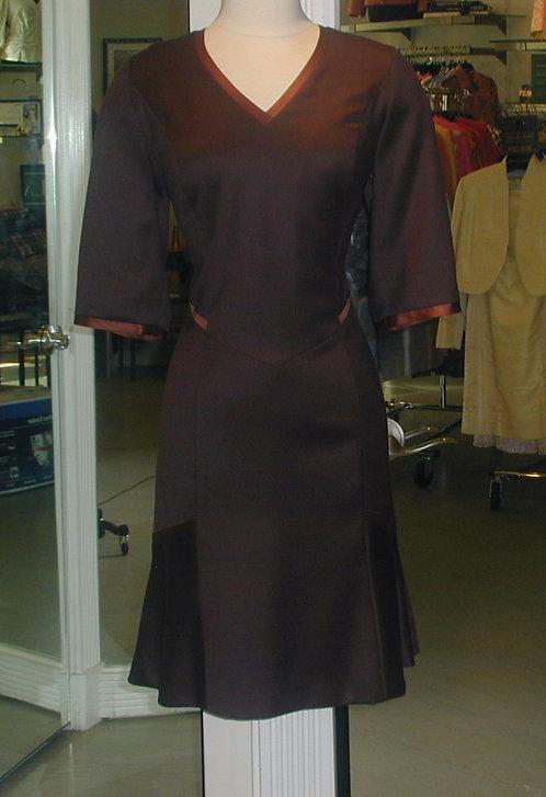 V-Neck Dress w/ Flare Panels