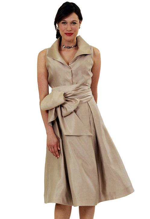 Wedge Collar Flared Dress w/ Sash