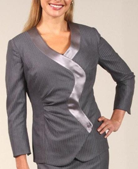 Slate Satin Stripe Asymmetrical Serpentine Jacket w/Trim