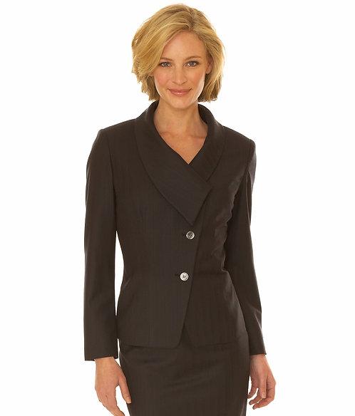 Midnight Navy Satin Stripe Asymmetrical Jacket