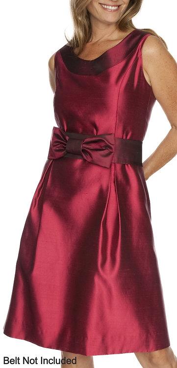 Rose Silk Shantung Scoop Neck Dress