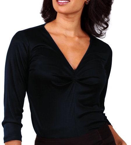 Shirred V-Neck - Navy