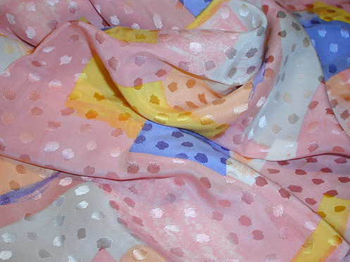 Pink/Blue/Yellow Jacquard Print Silk Charmeuse