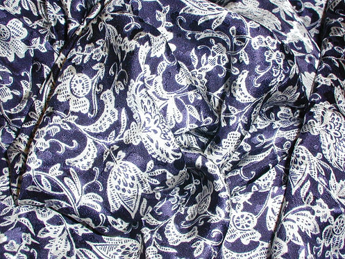 Navy/White Floral Print Silk Charmeuse-S355
